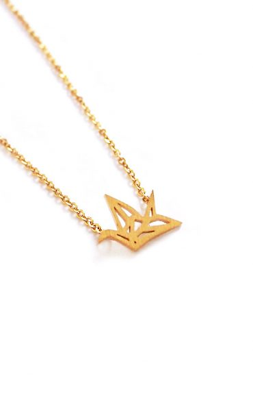Amazon.com: Origami Crane Necklace in Sterling Silver with 18 Inch ... | 600x370