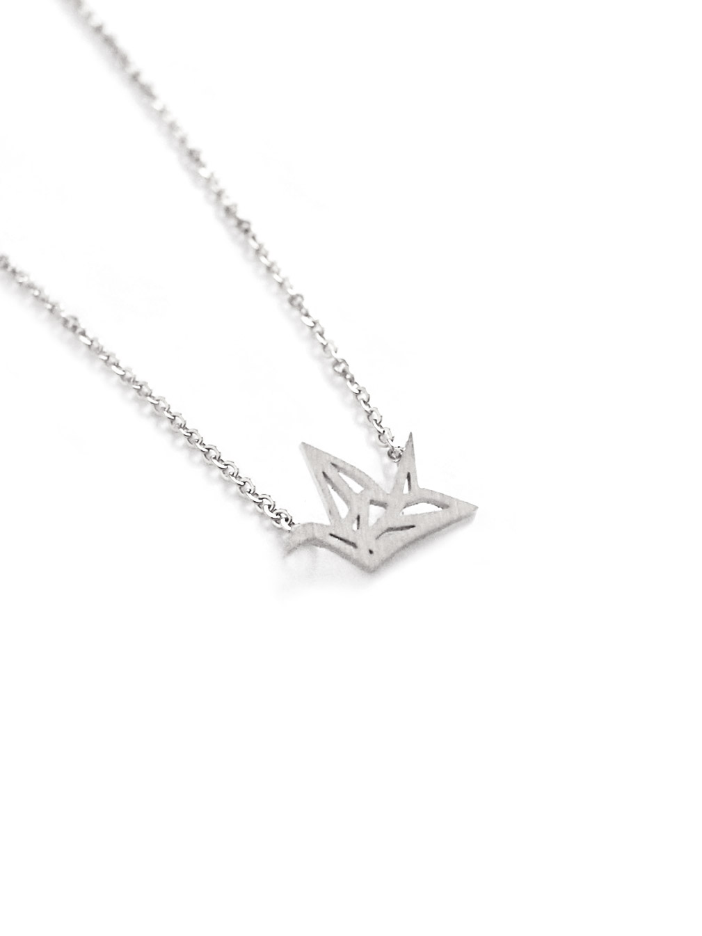 (Back in Stock) (Stainless Steel) Mini Origami Crane Necklace in Silver | Arva.co - photo#11