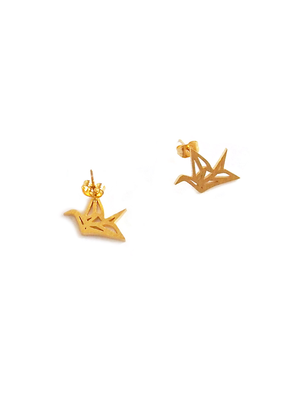 (Back in Stock) (Stainless Steel) Mini Origami Crane Earrings in Gold | Arva.co - photo#4