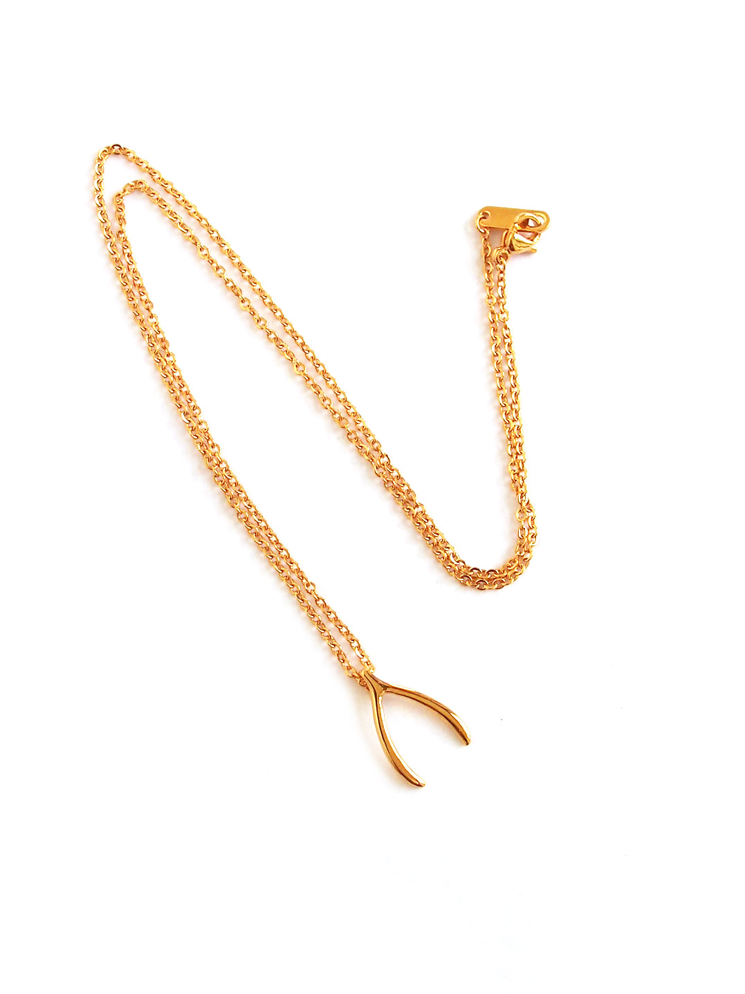 Stainless steel lucky wishbone necklace in gold arva acc762 lucky wishbone necklace in gold 7 aloadofball Gallery