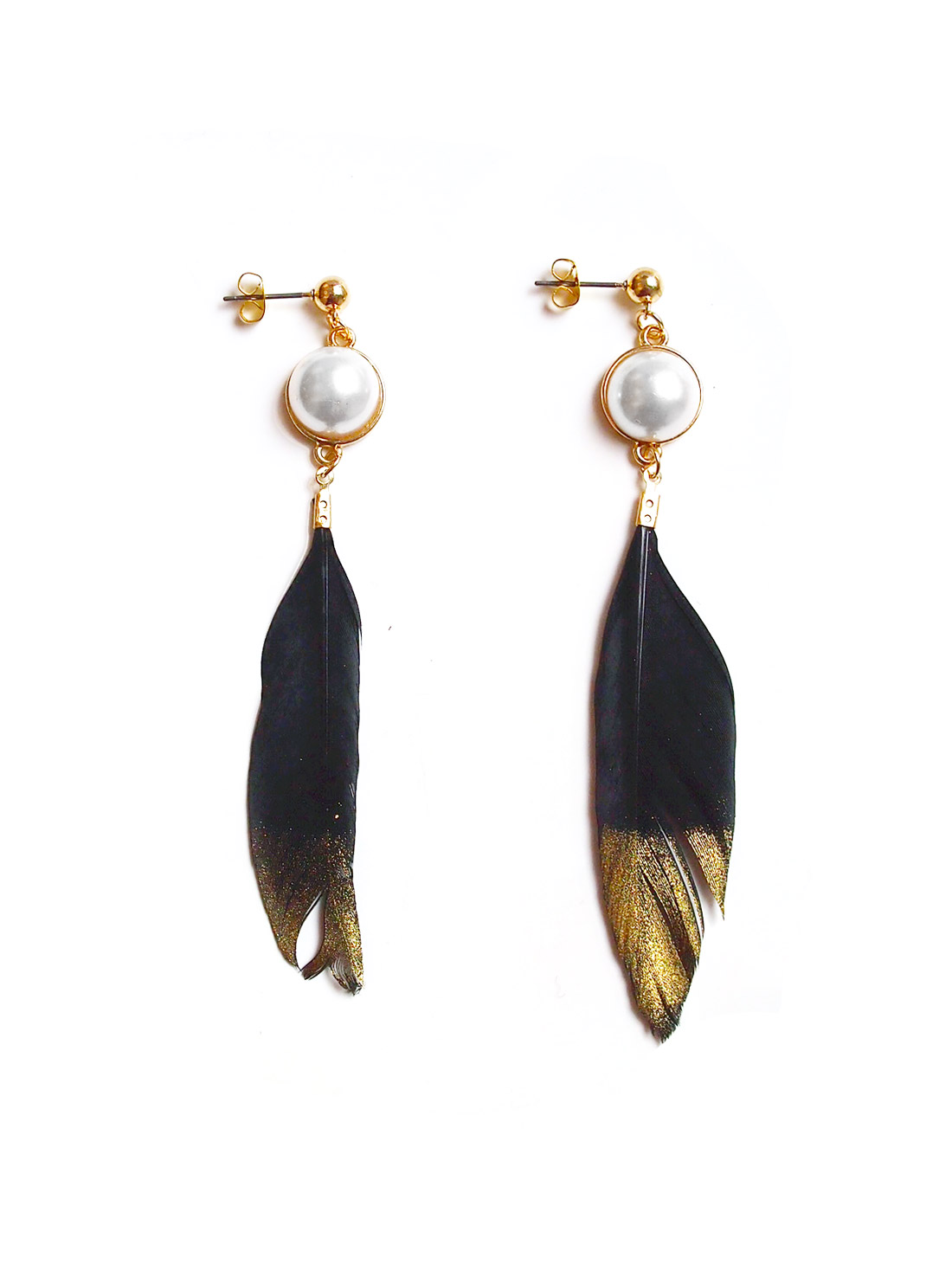 Gold-Dipped Pearl Feather Earrings In Black | Arva.co