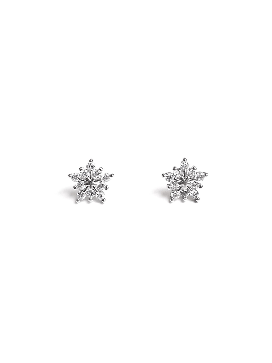Acc943 Premium Sparkle Snowflake Earrings In Silver