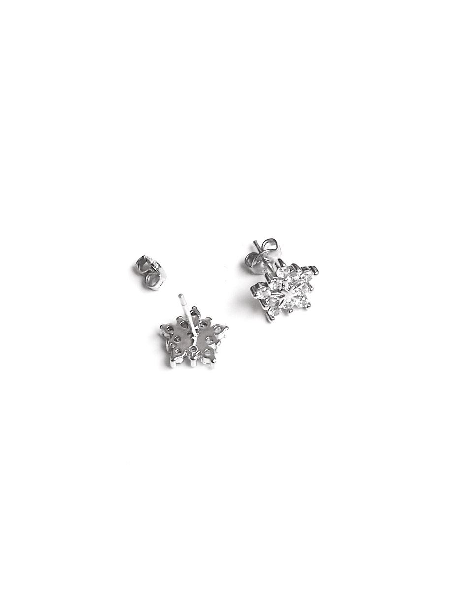 rhodium jewellery earrings stud pave beautiful plumeria silver sterling accent double plated shimmering cz