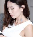 ACC946-Petal-Pearl-Drop-Earrings-in-Grey-2