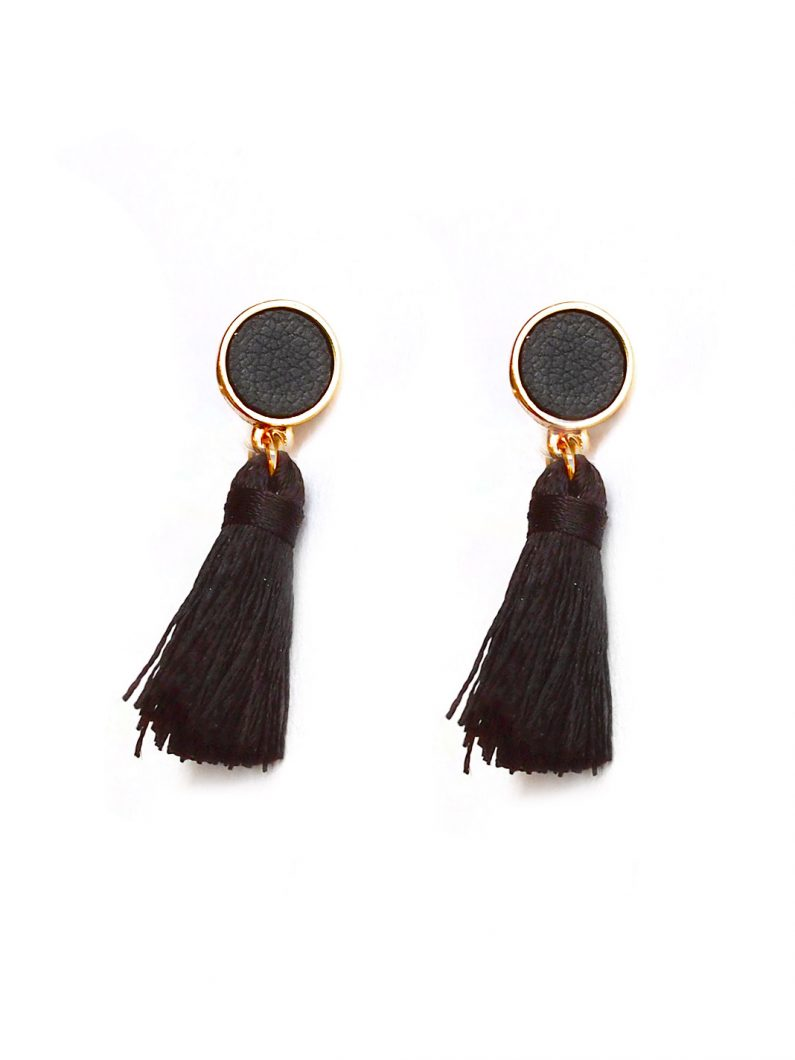 ACC968-Circle-Leather-Accent-Tassel-Earrings-in-Black-6
