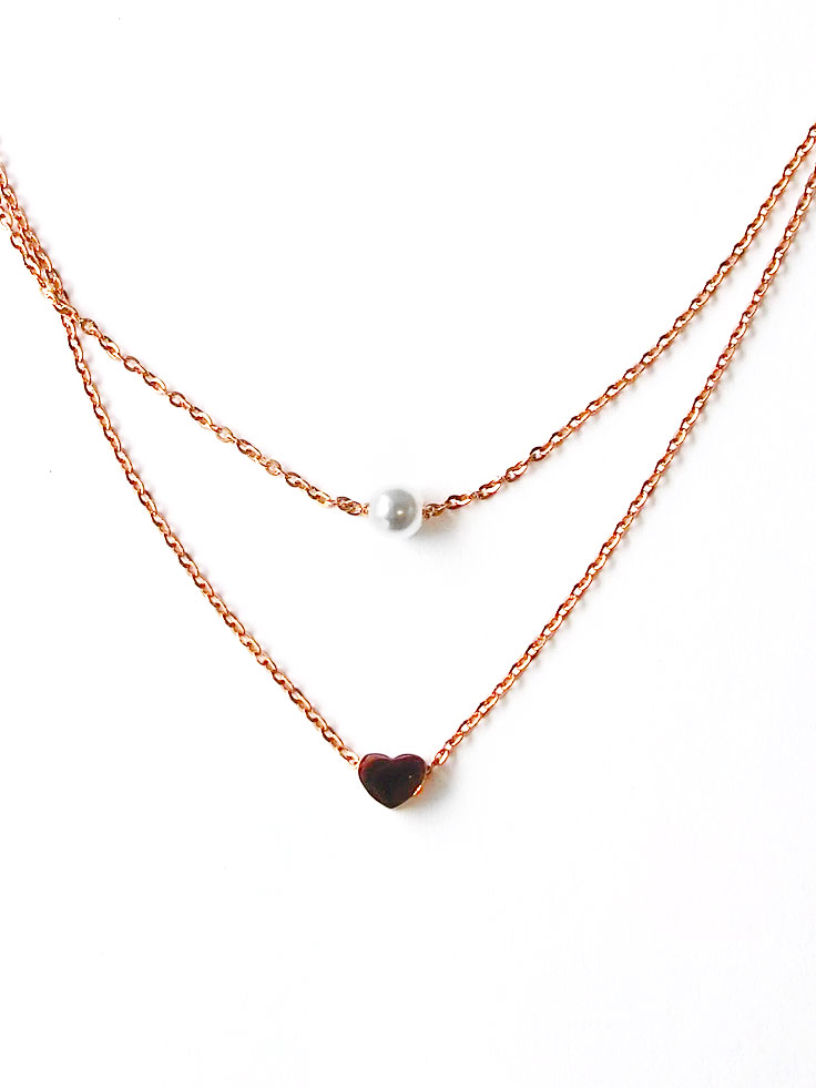 collar fashion heartbeat necklaces jewelry wholesale from chain beat heart color pendant plated women rose free gold item in stainless necklace steel