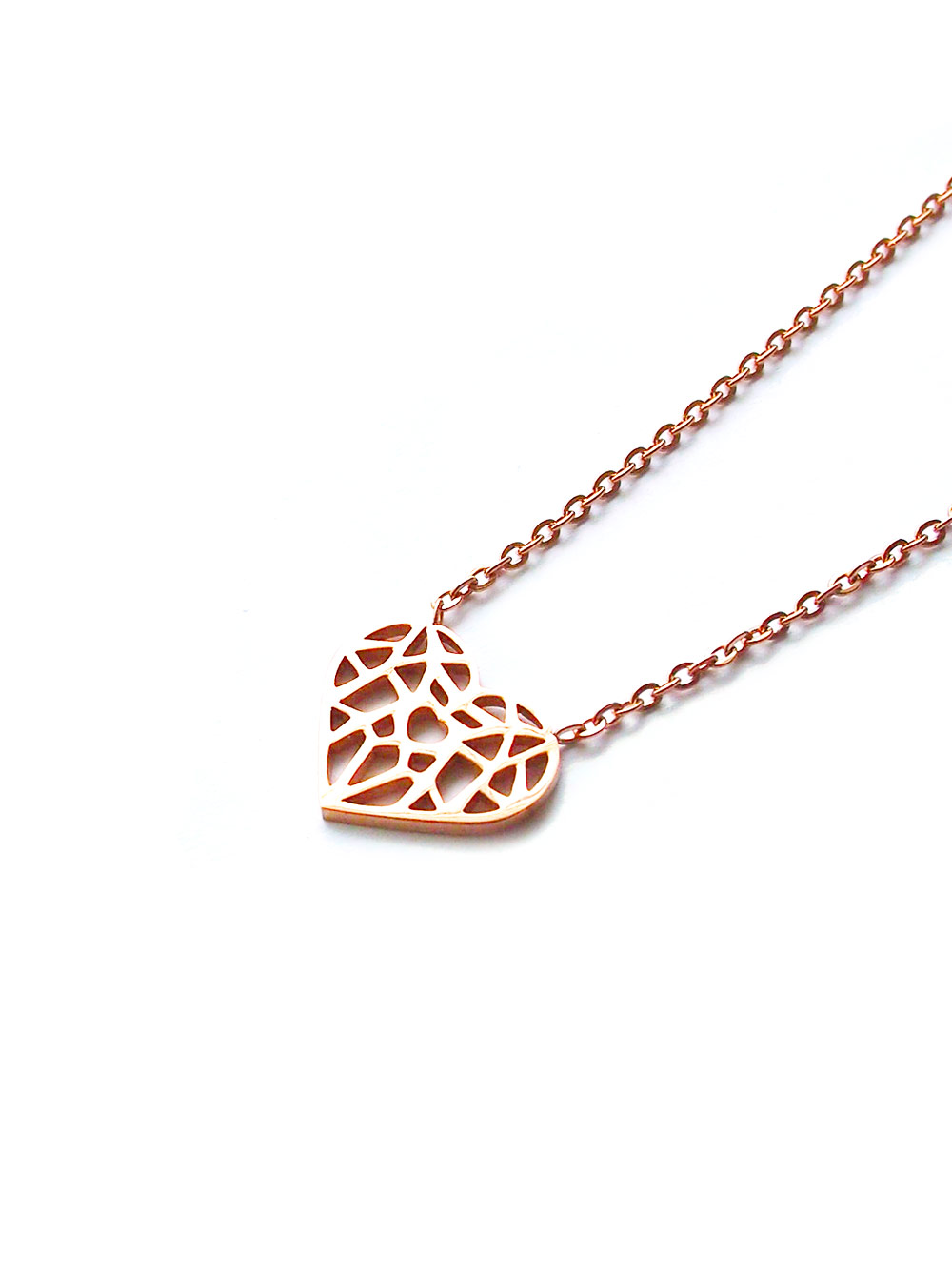 Stainless steel origami heart necklace in rose gold arva acc1060 stainless steel origami heart necklace in aloadofball Images