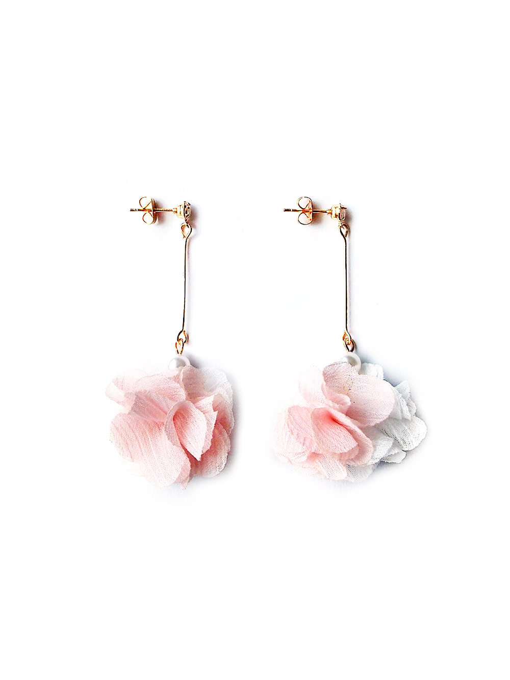 8094248e2 (Back in Stock) Chiffon Pom Drop Earrings in Pink | Arva.co
