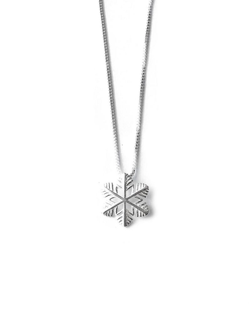 ACC1113-Simple-Snowflake-Necklace-in-Silver-5