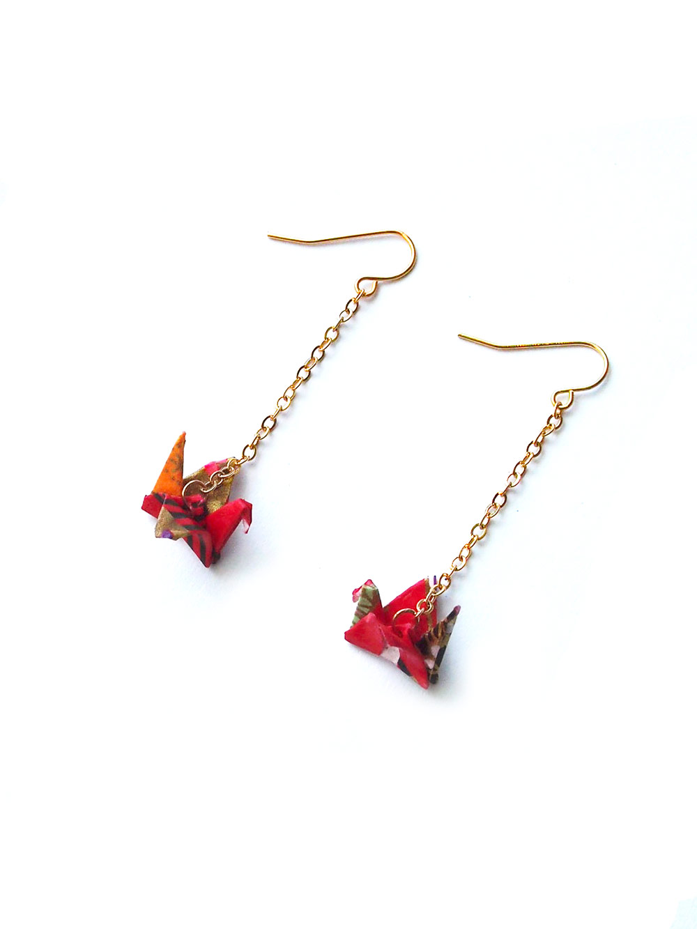 back in stock origami paper crane earrings in red arvaco