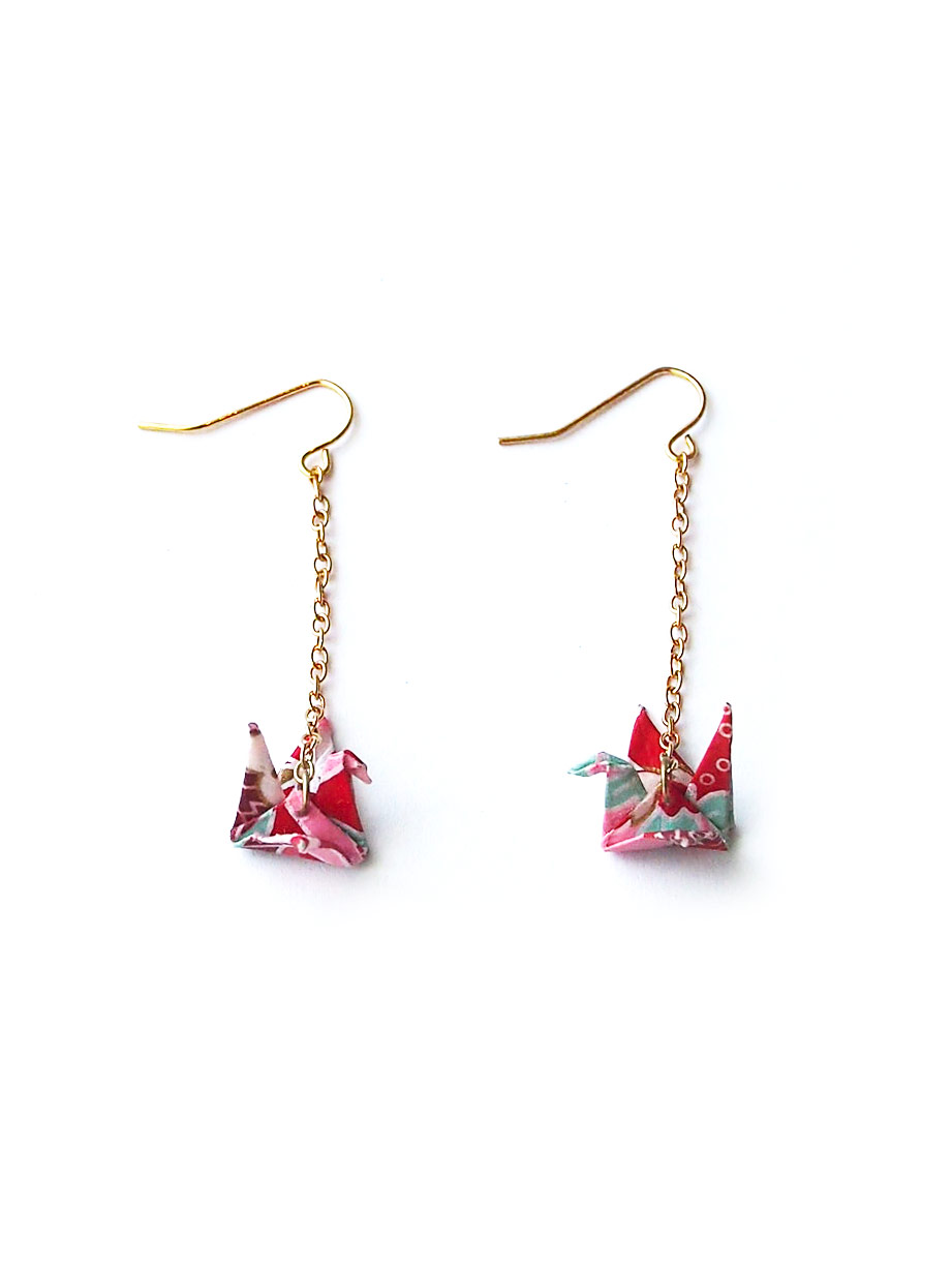 Acc1117 Origami Paper Crane Earrings In Pink 7
