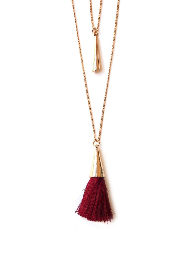 ACC1138-Cone-Layered-Tassel-Necklace-in-Wine-Red-4