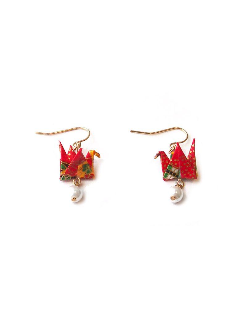 ACC1174-Origami-&-Pearl-Paper-Crane-Earrings-in-Red-4