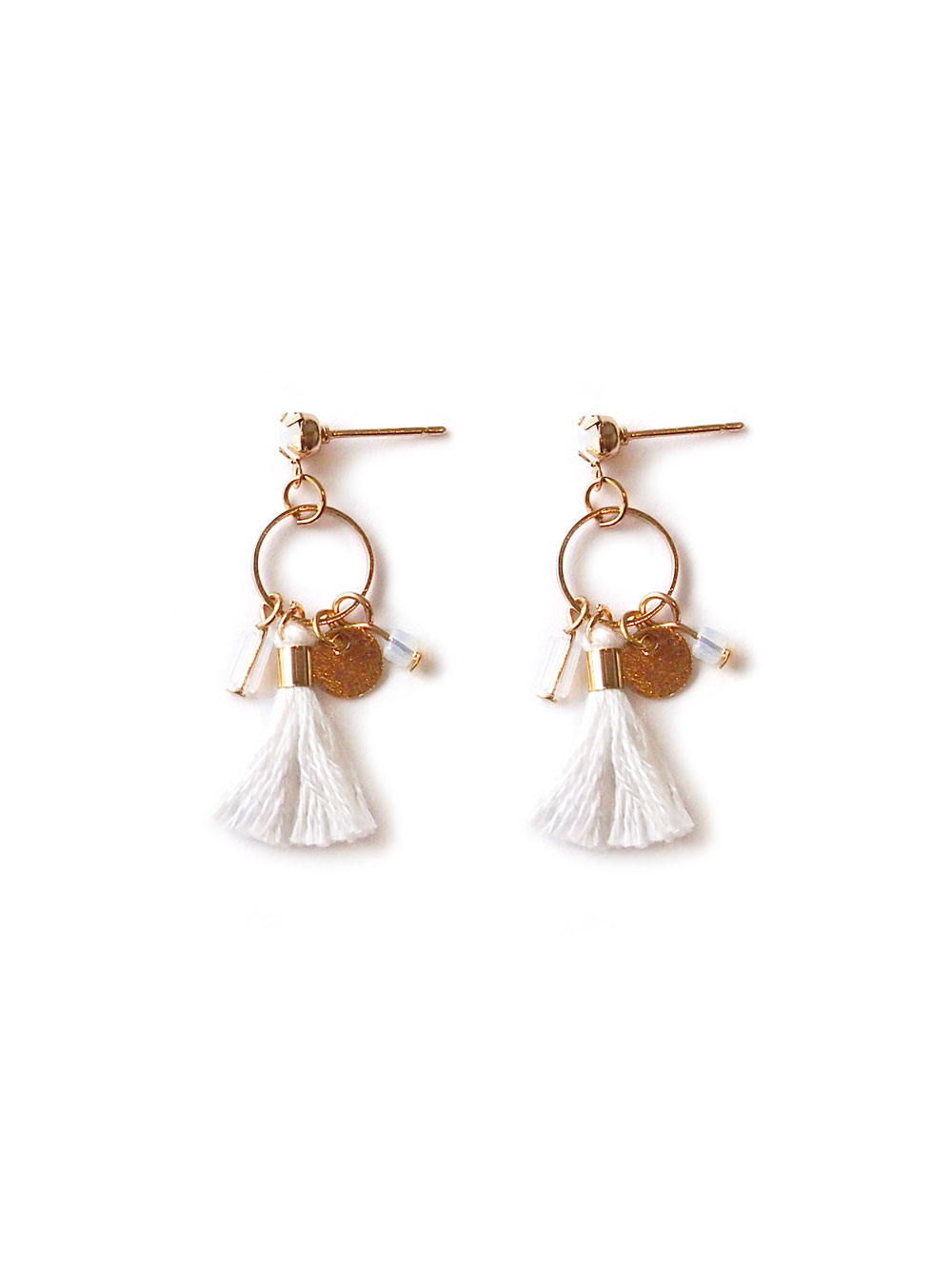 d027b8dad Back in Stock) Tiny Crystal Tassel Earrings in White | Arva.co