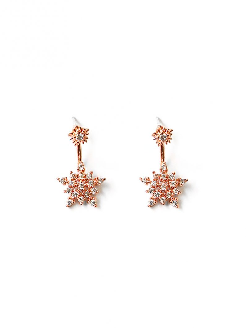 ACC1291-(Premium)-Snowflake-Crystal-Earrings-in-Rose-Gold-1