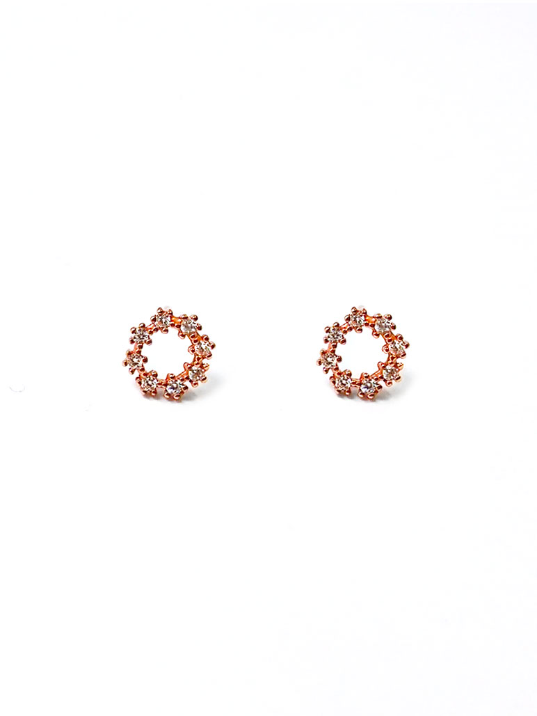 ACC1306-(925-Silver)-Tiny-Classic-Diamante-Ear-Studs-in-Rose-Gold-1